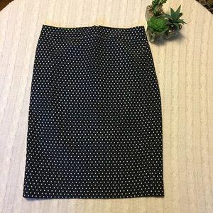 J.Crew No. 2 Pencil Skirt Navy w/ White polka dots